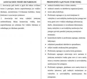 asociacija vs profesines